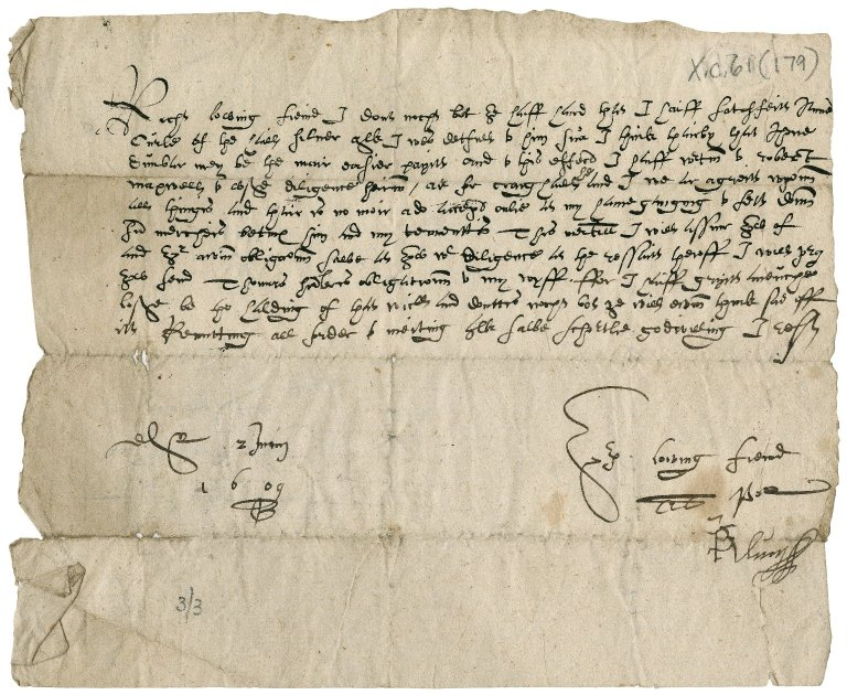 Letter from P. Wemyss to Alexander Keath of Over Dysart, Edinburgh