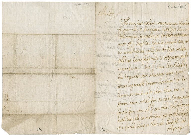 "Letter from James Stuart, Duke of Richmond and Lennox to ""My Lord,"" Cobham"