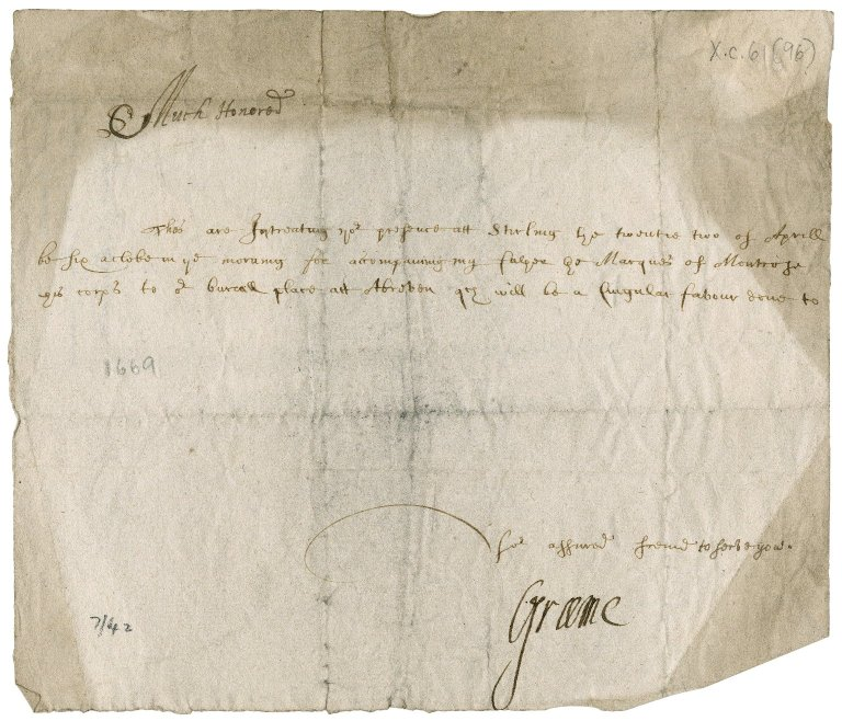 Letter from James Graham, 3rd Marquess of Montrose to Patrick Rattray of Craighall