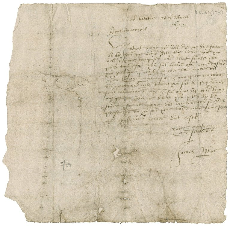 Letter from James Blair to Patrick Rattray of Craighall, Balathie