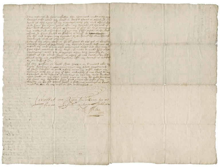 Portion of the will of Sir John Suckling: official copy