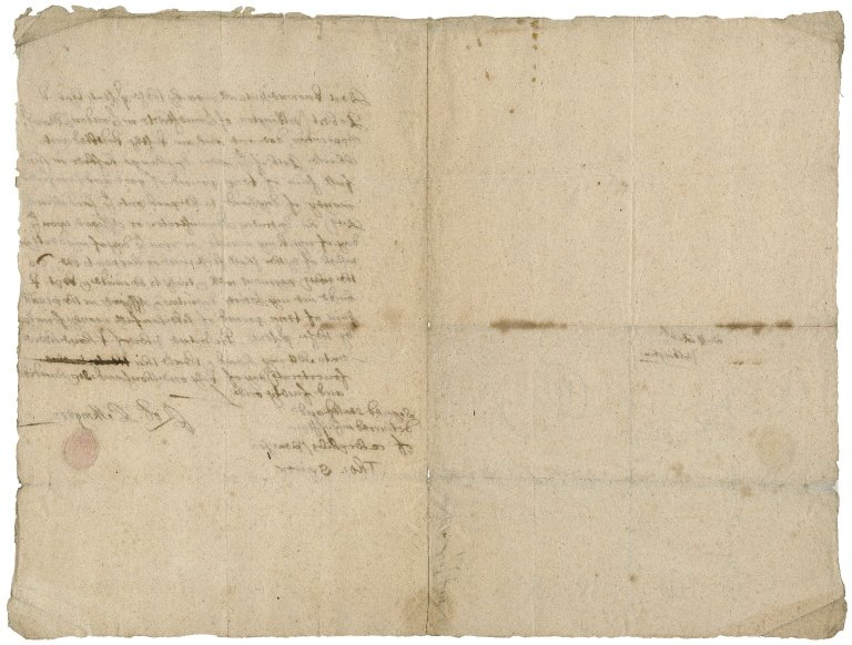 """Promissory note for £10 from Robert Pilkington of Limestreet, London, to Charles Rich of the New Exchange, """"hoshier,"""""""