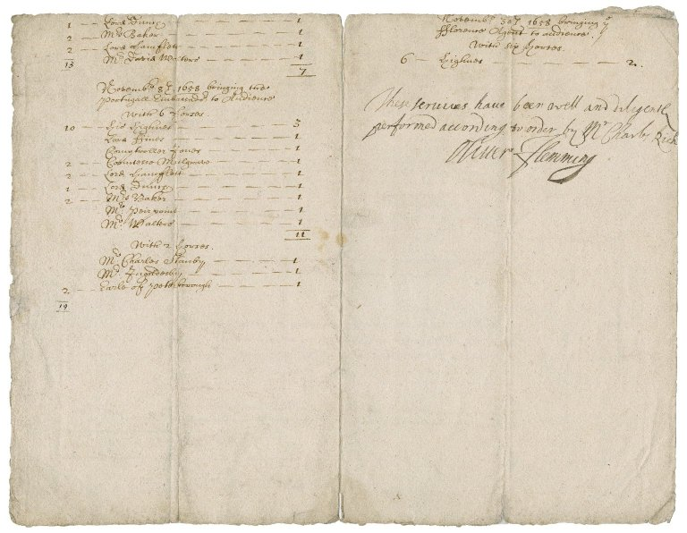 Expense accounts attested by Sir Oliver Flemming, master of the ceremonies - X.d.451 (36-38)