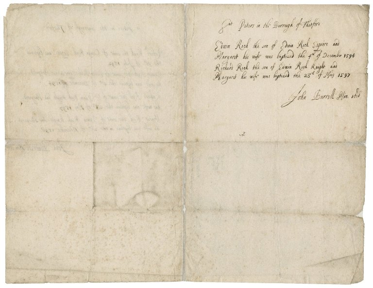 Note by John Burrell, minister of St. Peter's, Thetford, noting the dates of baptism of Sir Charles's brothers and their wives