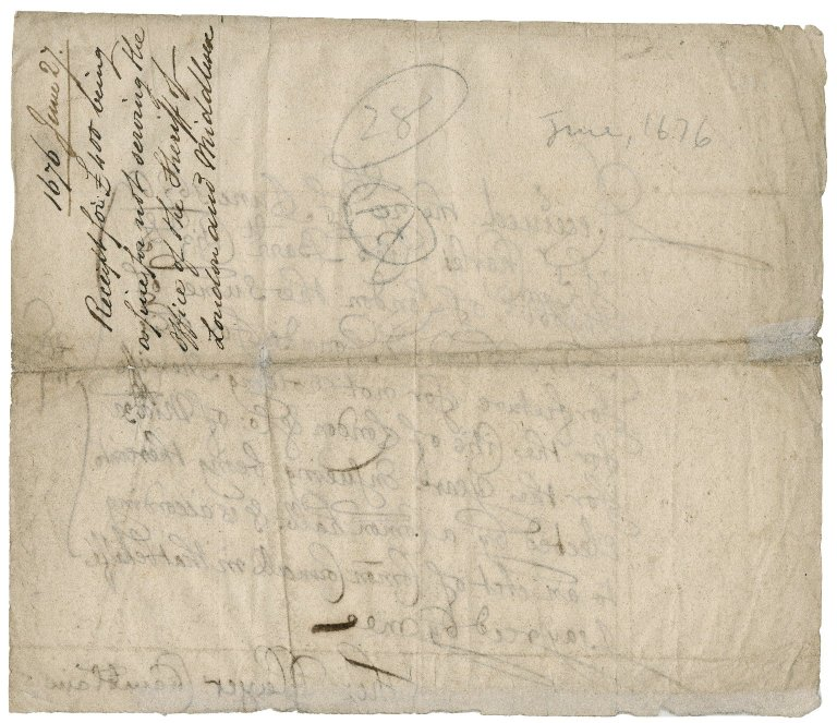 Receipt from the City of London to Sir Charles Rich, citizen and haberdasher