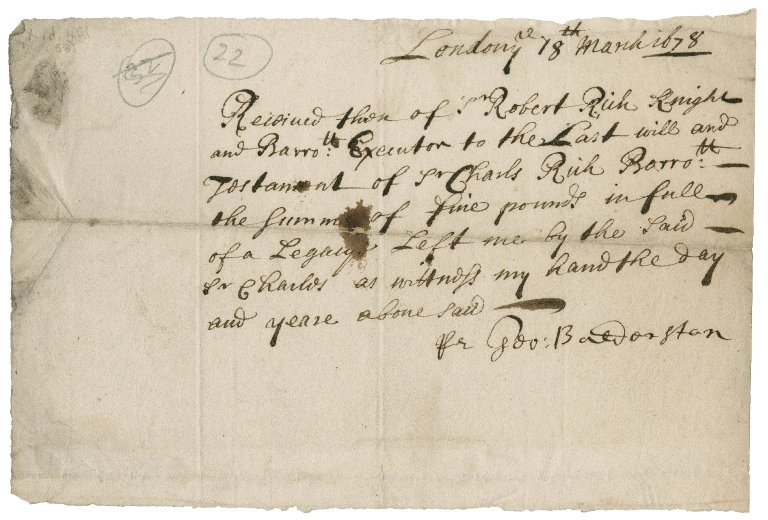 Papers arising out of Sir Robert's executorship of the will of his father-in-law, Sir Charles Rich: X.d.451 (53-75)