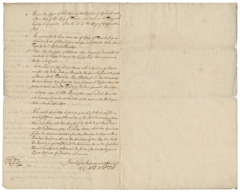 Letter from the Navy office to Charles II, King of England