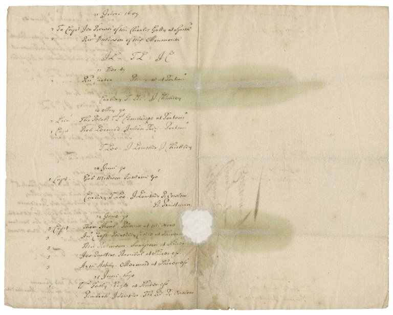 List of press warrants granted by Sir Thomas Lee, one of the Lord commissioners of the Admiralty, to certain officers