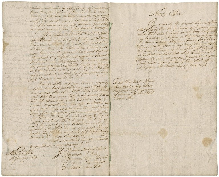 Letter from the Navy board to the Lords of the Admiralty : copy