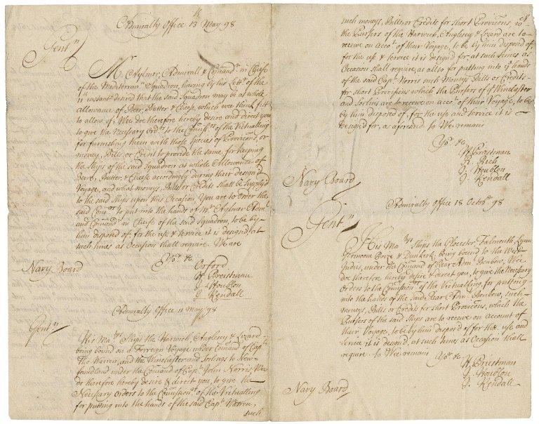 Orders for victualling addressed by the Admiralty office to the Navy board : copies