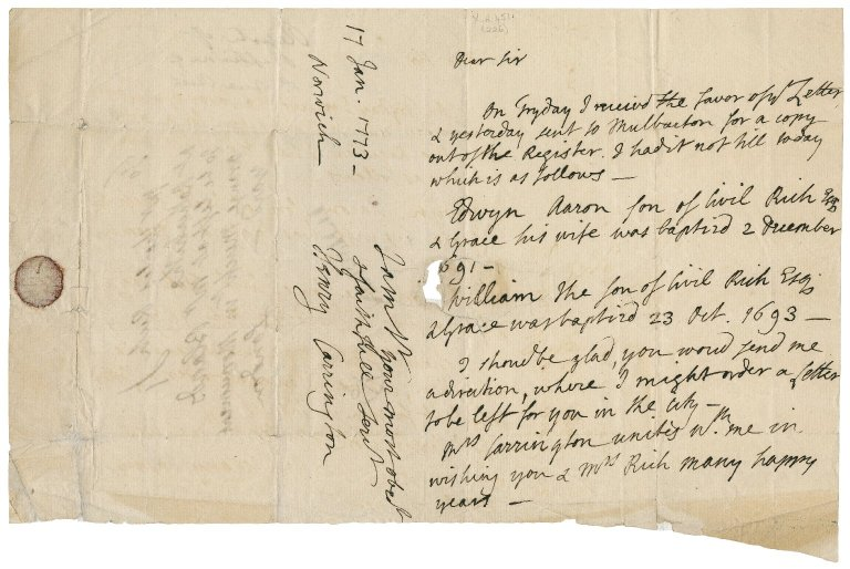 Letter from Henry Carrington, Norwich, to Charles Rich, Rotherhithe