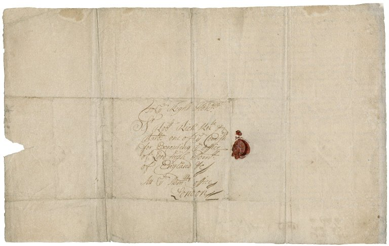 Letter from John Aldred, junior, on board the Deptford in Cadiz (Cales) Bay, to Sir Robert Rich