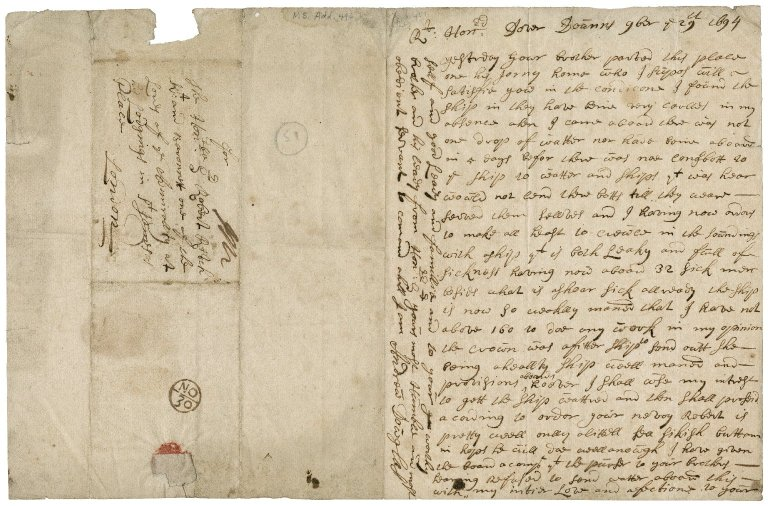 Letter from Andrew Douglas (Dowglass), Dover Downes, to Sir Robert Rich