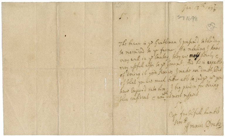 Letter from Francis Drake to Sir Robert Rich