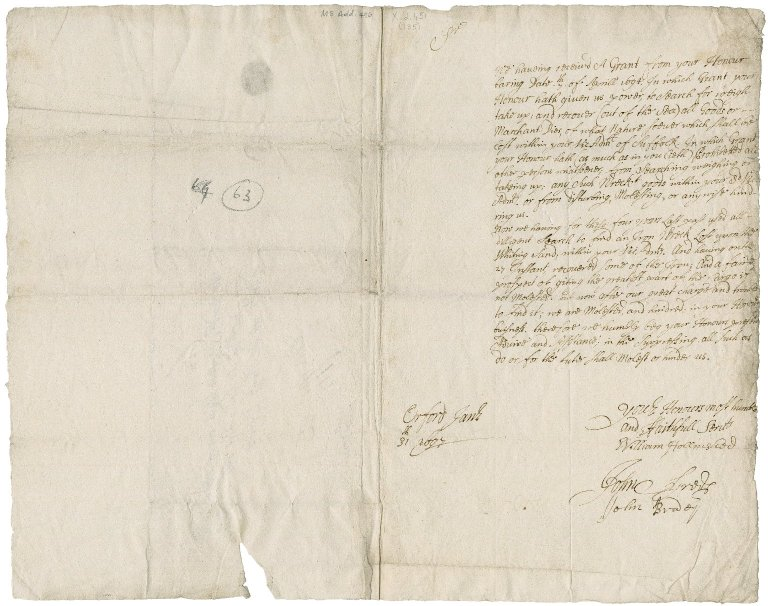 Letter from William Hollinshed, John Syred, and John Bradey, Orford, Suffolk, to Sir Robert Rich