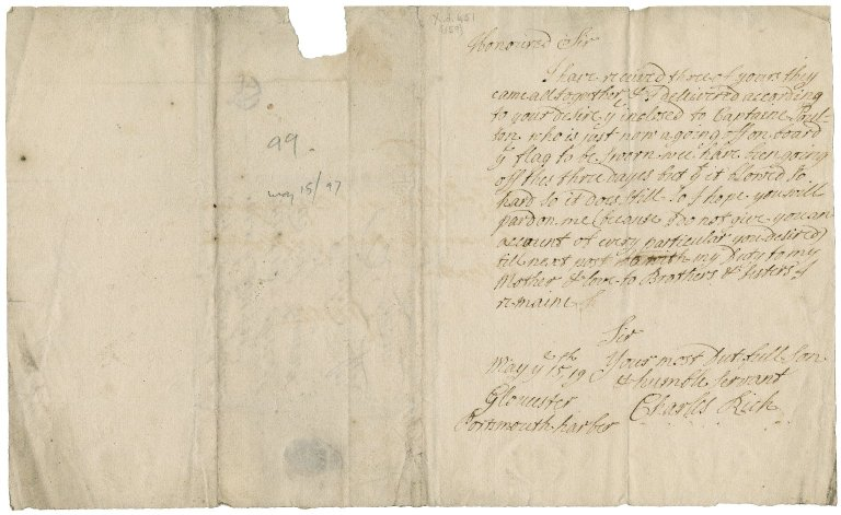 Letters from Sir Charles Rich to Sir Robert Rich: X.d.451 (151-165)