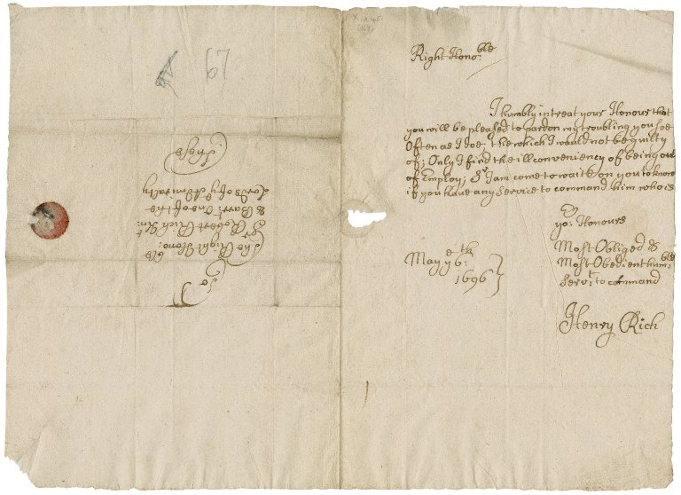 Letter from Henry Rich to Sir Robert Rich
