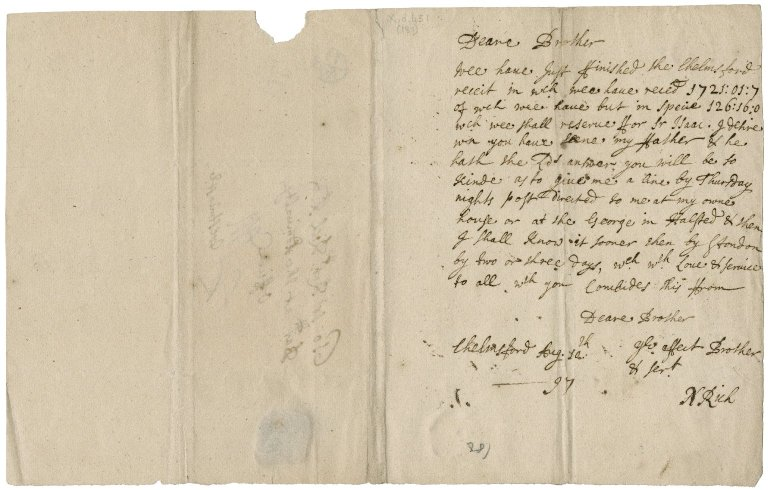 Letters from Nathaniel Rich, junior, to Sir Robert Rich: X.d.451 (179-186)