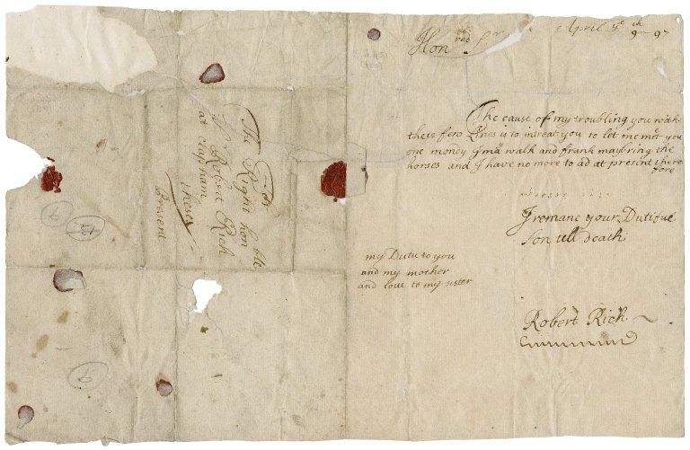 Letter from Sir Robert Rich (1685-1768) to Sir Robert Rich (1648-1699)
