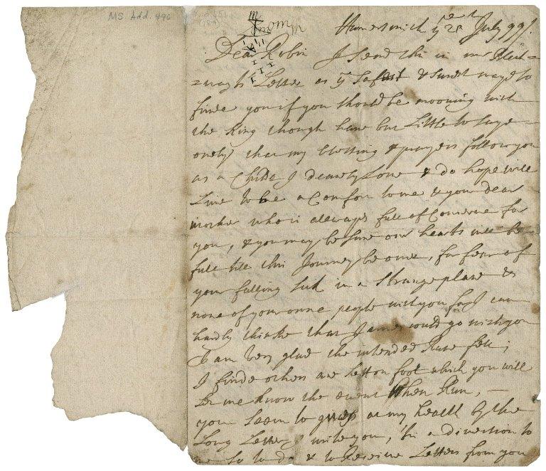 Letter from Sir Robert Rich (1648-1699), Hammersmith, to Sir Robert Rich (1685-1768)
