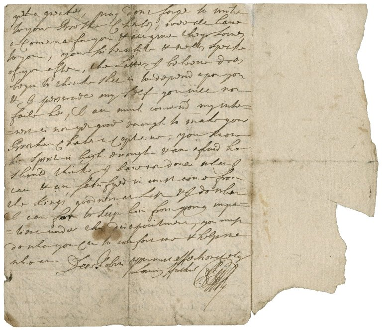 Letter from Sir Robert Rich (1648-1699), Hammersmith, to Sir Robert Rich (1685-1768)