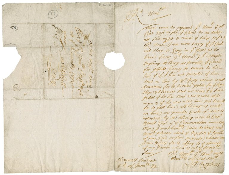 """Letter from Joseph Roydhouse, """"Sheerness Severne,"""" to Sir Robert Rich"""