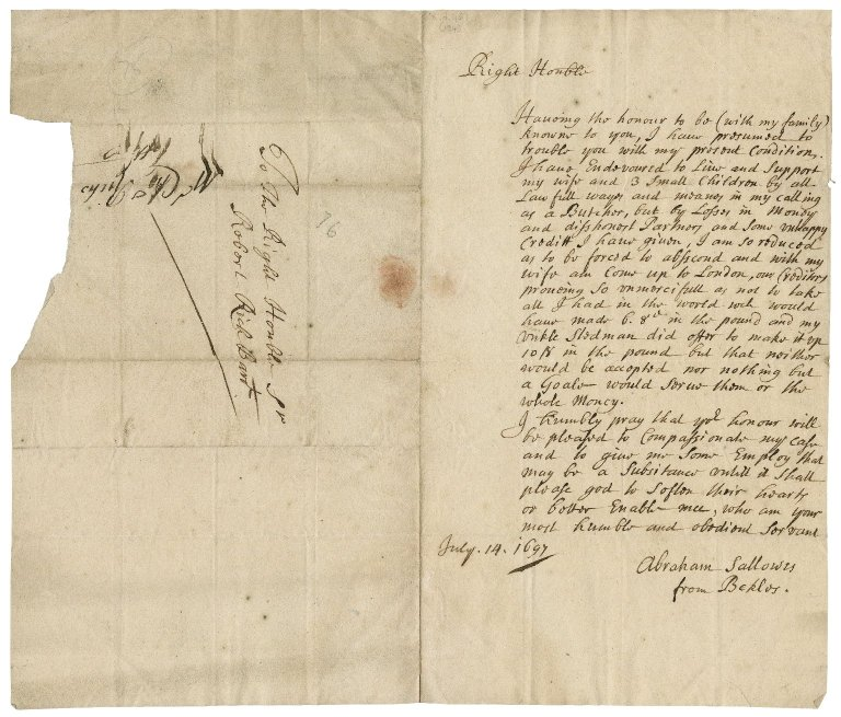 Letter from Abraham Sallowes, London, to Sir Robert Rich