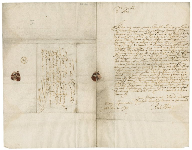 Letters from Richard White to Sir Robert Rich: X.d.451 (199-209).