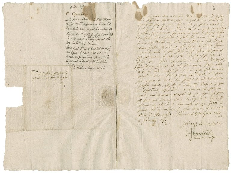 Hunsdon, George Carey, 2nd Baron. Letter signed. To Sir William More. Somerset House.