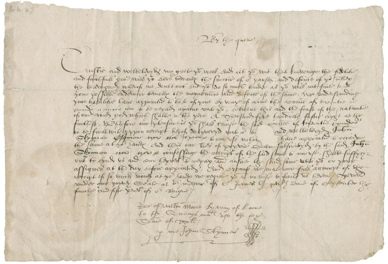 Great Britain. Sovereigns, etc., (Mary) Privy seal. To William Moore [More?]. St. James Manor.