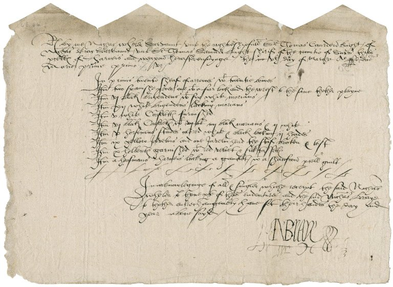 Wheler, Nicholas. Receipt for parcels of arms and armour delivered to him by Nicholas Bray.