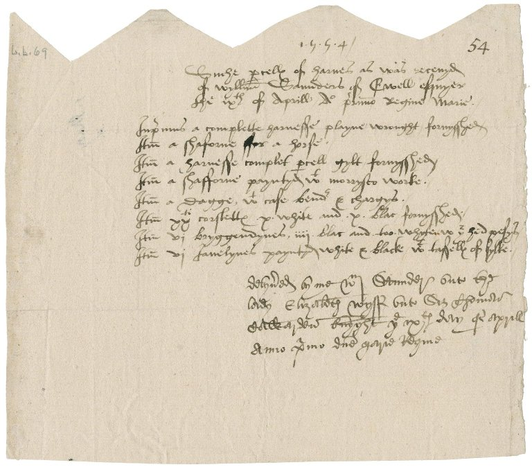 Saunders, William. Indenture of a receipt by Lady Elizabeth Cawarden of armor from William Saunders,
