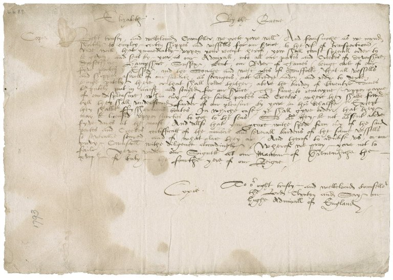 Great Britain. Sovereigns, etc. (Elizabeth I). Warrant addressed to the High Admiral of England, the Lord Clinton and Saye.