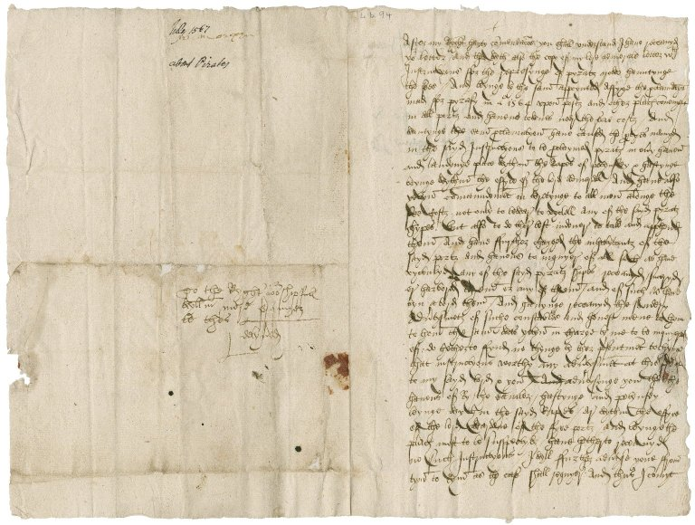 Morgan, William. Autograph letter signed. To Sir William More at Blechingley. Polynsey.
