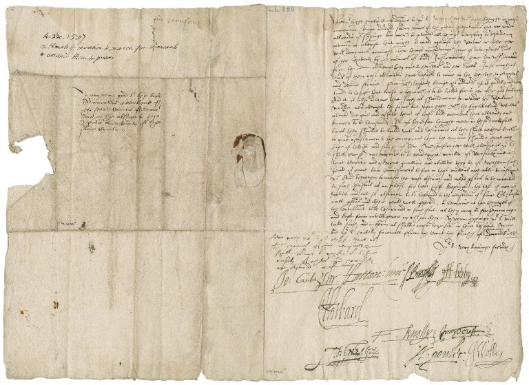 Great Britain. Privy Council. Letter signed by ten members. To the Lord Lieutenant of Surrey (Charles Lord Howard of Effingham, later Earl of Nottingham). The Court.
