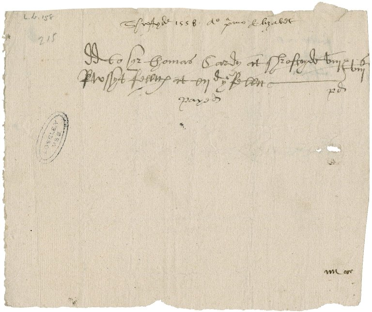 Great Britain. Office of the revels. Order to deliver to Sir Thomas Cawarden eight felts, costing 8 s., at Shrovetide 1558/59.