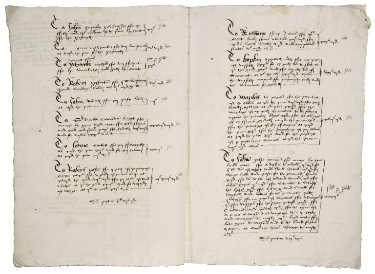 Great Britain. Office of the revels. Revelles. Charges aswell in tra[n]slating and newe making of Sondrye garmentes ffor maskers torche berers & pleyers ... with ... Caryage and Recaryage of the same to and ffrom westminster at dyuers tymes in christemas holydayes in the thirde yere of the Reigne of ... Edwarde the sixthe...