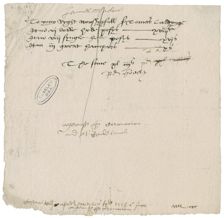 Sharlow, James. Bill. To Sir Thomas Cawarden.