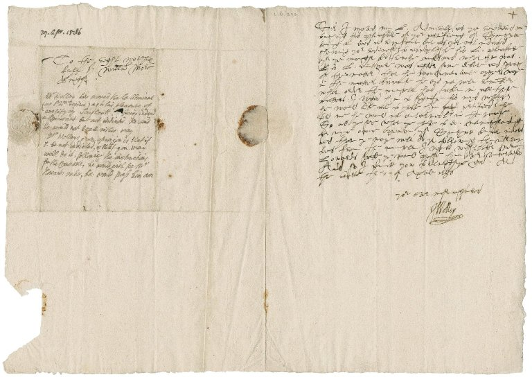 Wolley, John. Autograph letter signed. To Sir William More.