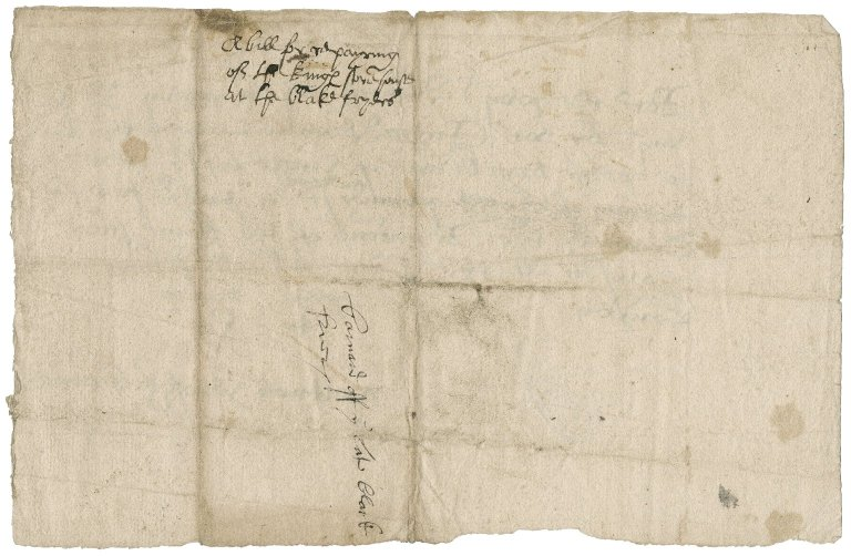 Brown, Richard. Receipt of Richard Brown and John Pery for £8 for the repair of the Revels warehouse in the Blackfriars.
