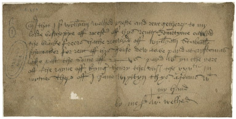 Welhed, William. Acquittance for the rent of William Stabulls for a house in the Blackfriars.