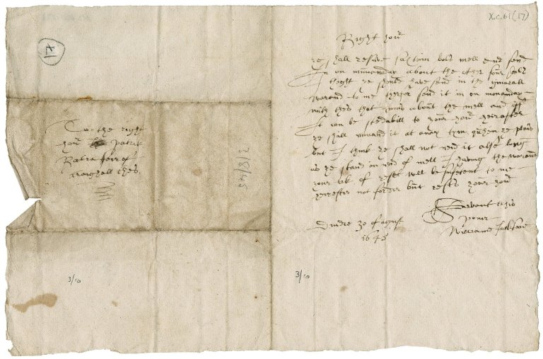 Letter from William Jackson to Patrick Rattray, younger of Craighall, Dundee