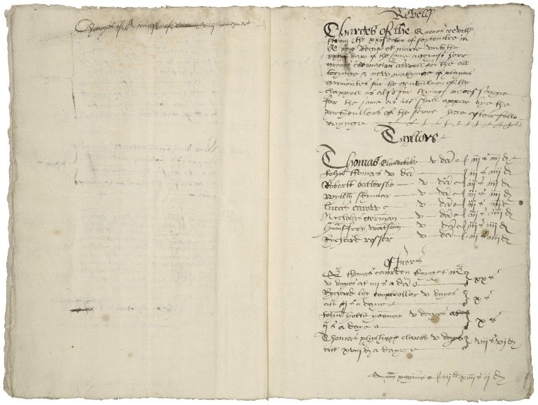 Great Britain. Office of the revels. Revells ffrom shrovetide in th vijth yere of the reigne of Edward the vijth vnto the xxvijth daye of ffebruary beynge shrovetyde in the fyrst and seconde yeres off the reignes off oure souereignes Phyllypp and Marye...