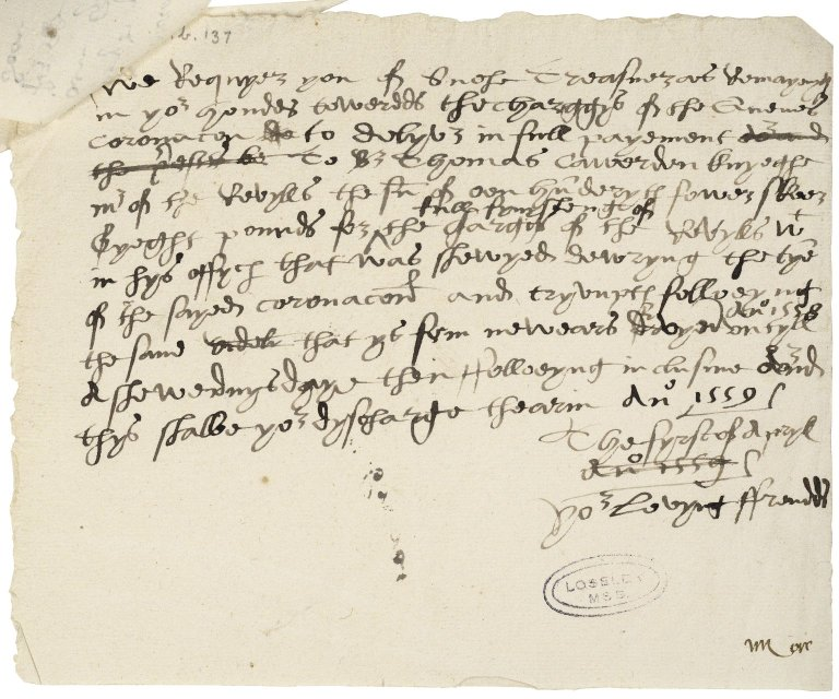 Great Britain. Office of the revels. A draft of a warrant to be addressed to Sir Richard Sackville. For the signatures of the Privy Council. To be dated April 1, 1559.