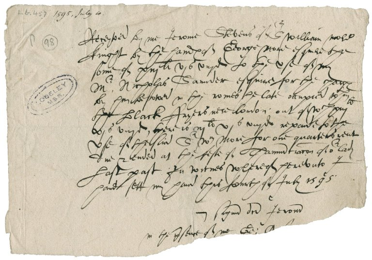 Stevens, Jerome. Receipt for £13.6s.8d. paid by Sir William More to the use of Nicholas Saunders.