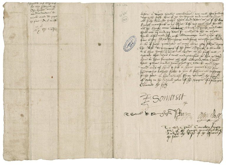 Great Britain. Privy Council. Warrant for the preparation of tents for soldiers. To Sir Thomas Cawarden. Greenwich.