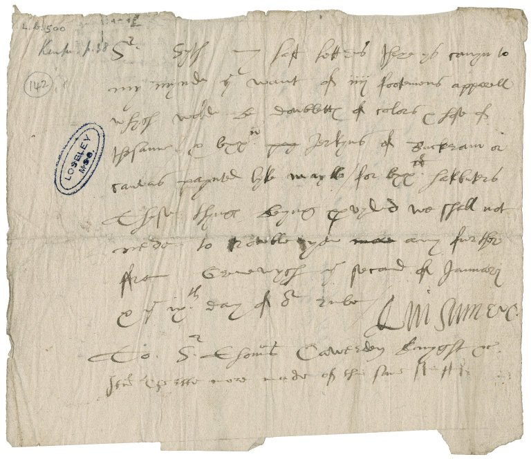 Ferrers, George. Autograph warrant. To Sir Thomas Cawarden. Greenwich.