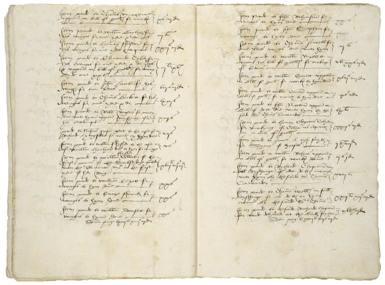 More, Sir William. Summes of money disbursed paide and distributed by William more Esquyre Executor of the Testament of Sir Thomas Cawarden ... Vppon billes and otherwise touchinge the Execucion of the Testament...