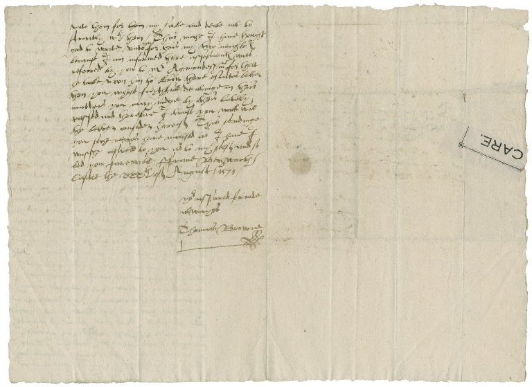 Browne, Thomas. Letter. To William More. Beckworth Castle. August 30, 1571.