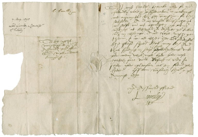 Lumley, John Lumley, Baron. Letter. To Sir William More. Nonesuch.